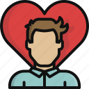 heart, love, man, relationship, romance, valentine, valentine's day icon