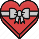 box, chocolate, food, heart, love, valentine, valentine's day icon