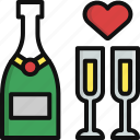 champagne, glass, heart, love, romance, valentine, valentine's day icon