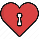 heart, key, lock, love, romance, valentine, valentine's day icon