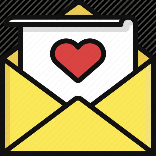 heart, letter, love, message, romance, valentine, valentine's day icon