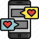 chat, heart, love, message, phone, valentine, valentine's day icon