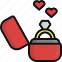 gift, heart, jewel, love, ring, valentine, valentine's day icon