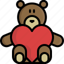 bear, gift, heart, peluche, teddy, valentine, valentine's day icon