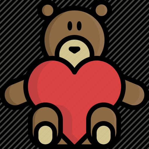 Bear, gift, heart, peluche, teddy, valentine, valentine\'s day icon ...