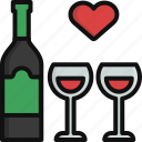 alcohol, glass, heart, love, valentine, valentine's day, wine icon
