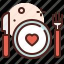 meal, love, romance, heart