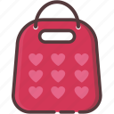 bag, commerce, gift, love, shopping, shopping icon, valentine's day icon