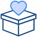 box, delivery, donation, heart, love, valentine's day icon