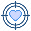 aim, heart, love, romance, target, valentine's day icon