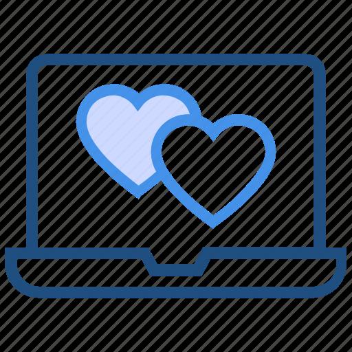 dating, heart, laptop, love, macbook, online, valentine's day icon