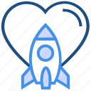 heart, love, rocket, spaceship, travel, valentine's day icon