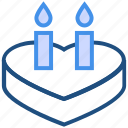 cake, candles, dessert, heart, romantic, sweet, valentine's day icon