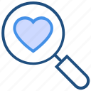 favorite, find, heart, love, magnifier, search, valentine's day icon