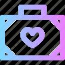 love, suitcase, valentines icon