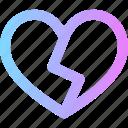 broken, heart, valentines icon