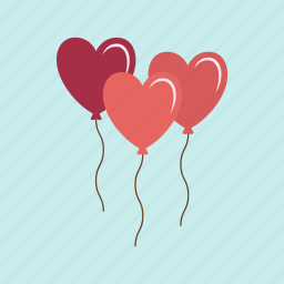 balloons, celebration, heart, love, party, valentine, wedding icon