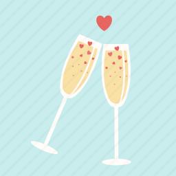 celebration, champagne, date, glasses, heart, love, valentine icon