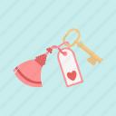 date, heart, hotel, key, love, room, valentine icon