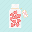 candy, confection, jar, love, pills, sweet, valentine icon