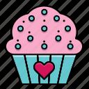 cupcake, cake, feast, heart, love, valentine, valentine's day