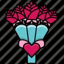 bouquet, feast, flowers, heart, love, valentine, valentine's day icon