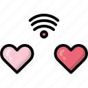 couple, dating, heart, internet, two, valentines, wifi icon