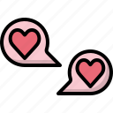 bubble, chat, communication, heart, love, speech, valentines icon
