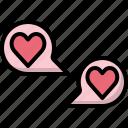 bubble, chat, communication, heart, love, speech, valentines
