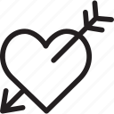 happy, heart with arrow, holiday, message, valentine's day icon