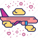 airplane, flight, honeymoon, travel, trip, vacation, valentines