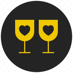 beverage, glass, heart, juice, party, valentine's drink, wine icon