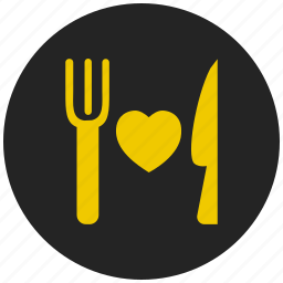 buffet, cutlery, dinner plate, fork and knife, hotel, restaurant, romantic dinner icon