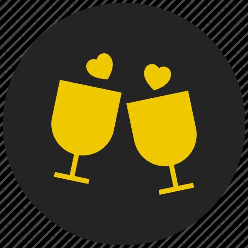 beverage, glass, heart, party, romance, valentine's drink, wine icon