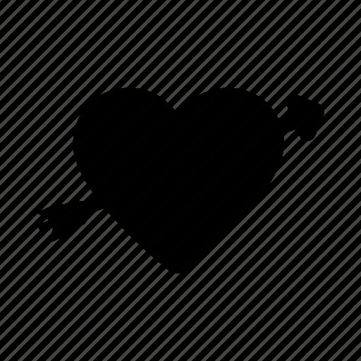 arrow, day, heart, through, valentine icon