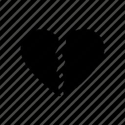 broken, day, heart, hurt, tore, valentine icon
