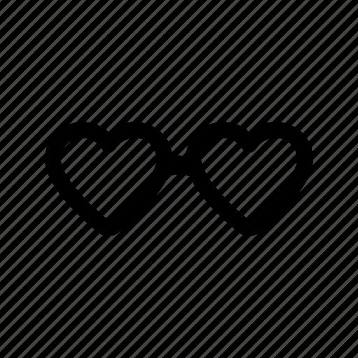 celebration, day, glasses, heart, valentine icon