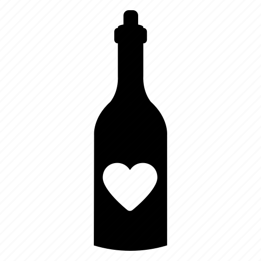 bottle, celebrate, day, heart, valentine, wine icon