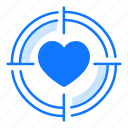 choice, love, point, purpose, shoot, target, valentines day icon