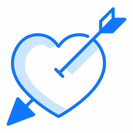 arrow, cupid, heart, love, lovely, shoot, valentines day icon