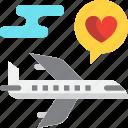 airplane, day, honeymoon, love, trip, valentines icon