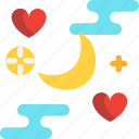 day, moon, night, valentines icon