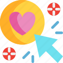 click, day, heart, love, valentines icon