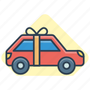 car, car gift, car with bow, gift, gift car, new car gift icon icon