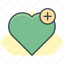add, heart, love, plus icon icon