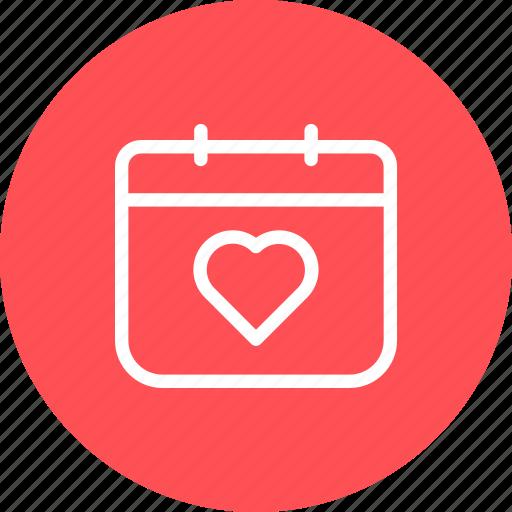 calendar, date, heart, love, month, valentine, year icon
