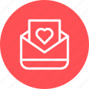 email, envelope, heart, mail, message icon
