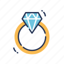 diamond, engagement, gem, jewel, jewelry, ring, wedding icon
