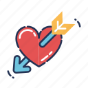 arrow, crush, heart, love, romantic, valentine icon