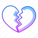 break, broken heart, heart, hurt, injury, love, valentines day icon